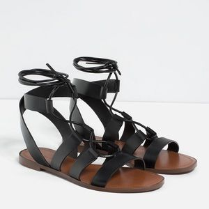 Zara Gladiator Cage Strappy Lace Up Sandal